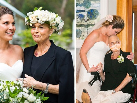 Dying mother spends her last day out of hospital celebrating her daughter's wedding