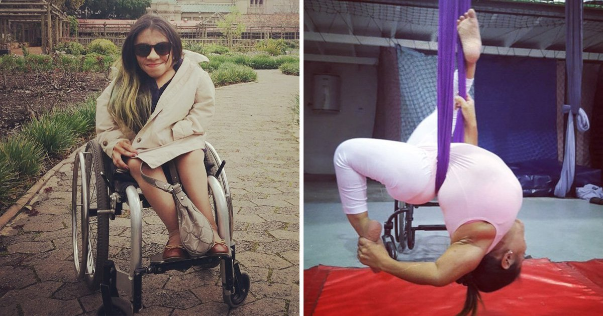 Disabled woman with brittle bone disease risks her life by doing aerial silks
