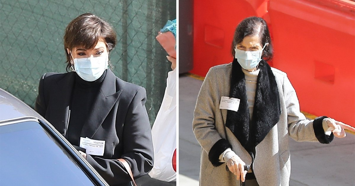 Kris Jenner and mum Mary Jo look downcast leaving A&E in surgical masks
