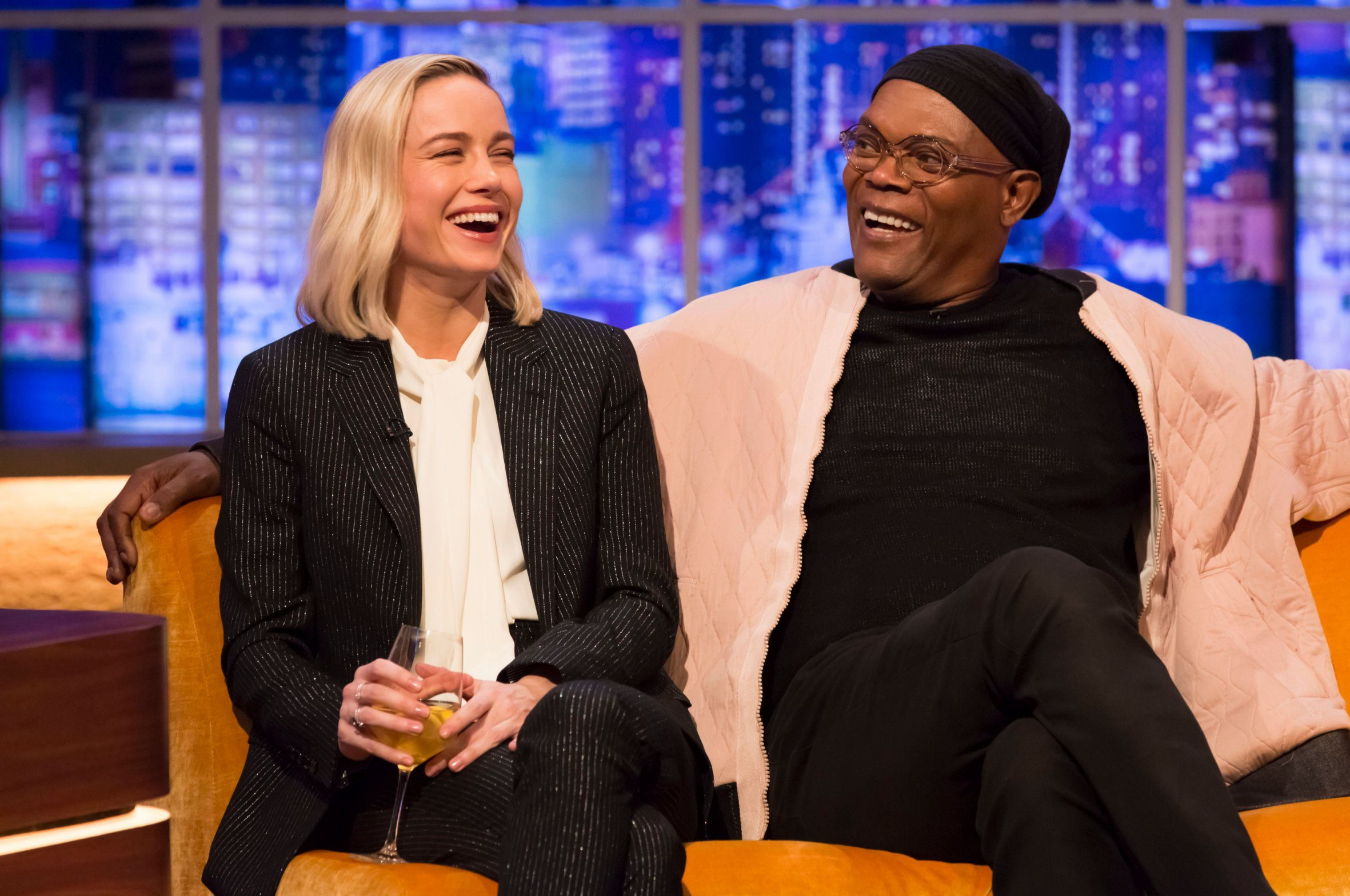 Mandatory Credit: Brian J Ritchie/Hotsauce Editorial Use Only Mandatory Credit: Photo by Brian J Ritchie/Hotsauce/REX (10125518ac) Brie Larson, Samuel L Jackson 'The Jonathan Ross Show' TV show, series 14, Episode 1, London, UK - 02 Mar 2019