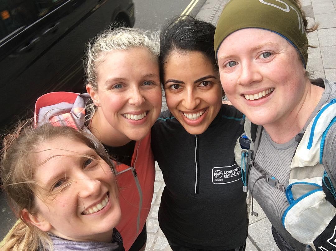 Alex, Megan, Rosh and Bethan on a training run
