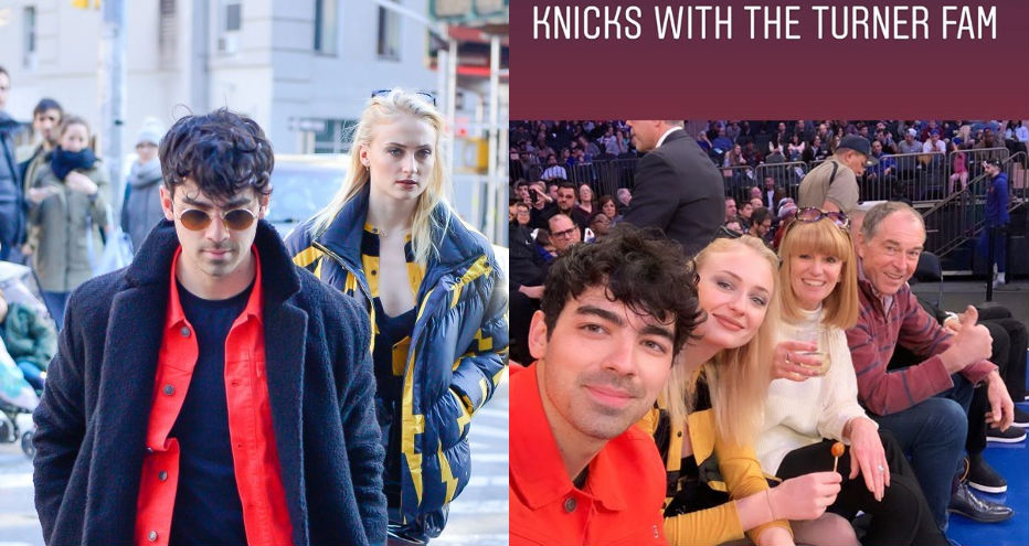 Joe Jonas and Sophie Turner are the picture of happiness at Knicks game with Game of Thrones star's parents