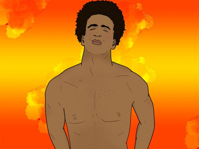 Illustration of a half naked man on a colorful background