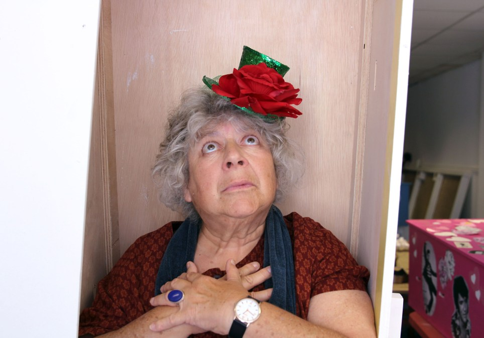 Miriam Margolyes poses in a coffin for her documentary Dead Good Adventure