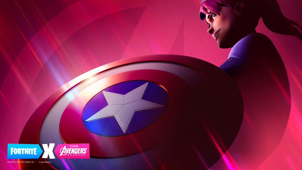Fortnite character holding Captain America's shield