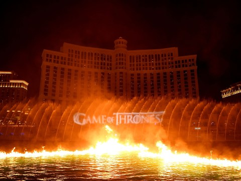 Watch Game Of Thrones take over Fountains of Bellagio with epic dragon and water display