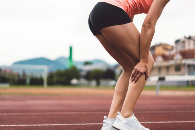 Young athlete injured her calf on the track