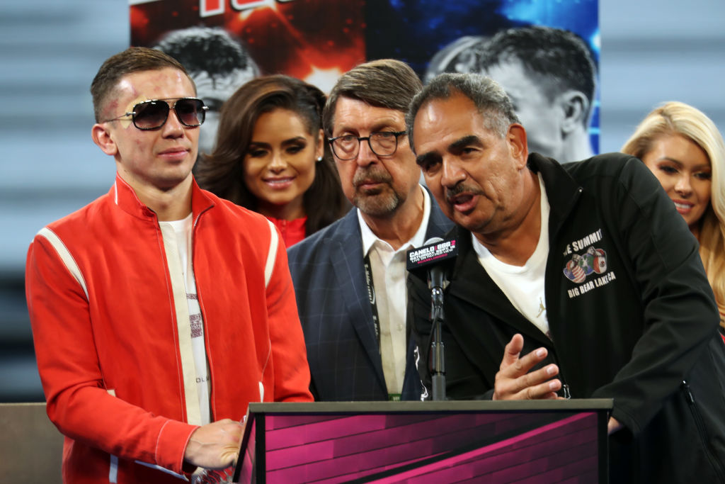 Gennady Golovkin and Abel Sanchez speak at a press conference