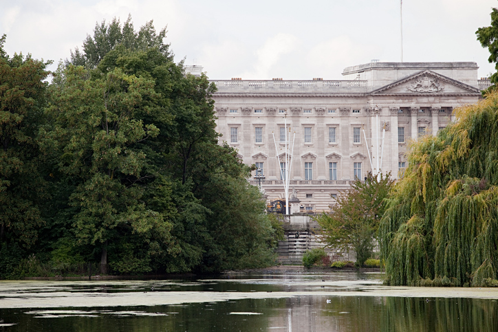 The lake at St James's Park, with Buckingham Palace in the background