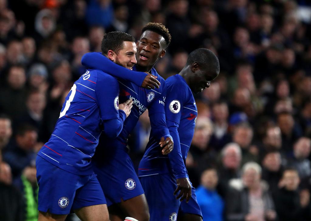 Eden Hazard offers Chelsea team-mate Callum Hudson-Odoi advice after full Premier League debut
