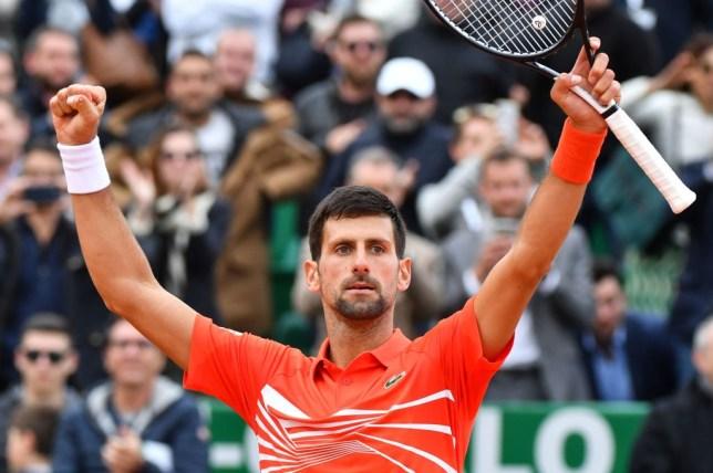 Djokovic celebrating his Monte Carlo win on Tuesday