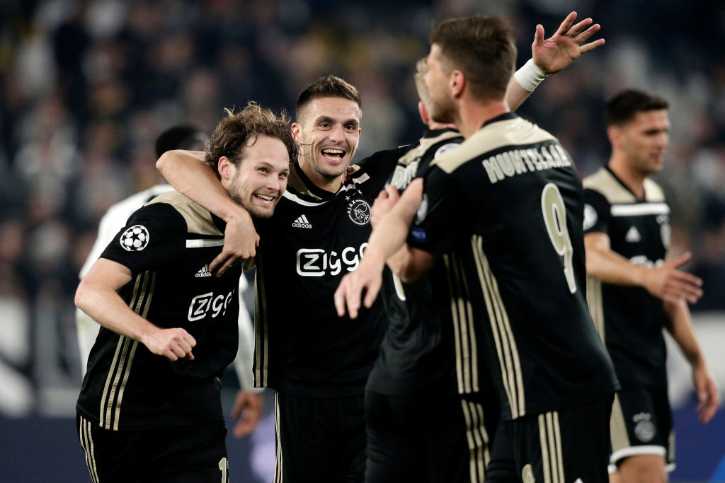 Dusan Tadic leads Ajax's celebrations following their shock Champions League win over Juventus