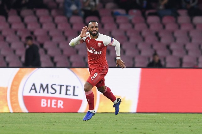Alexandre Lacazette celebrates scoring