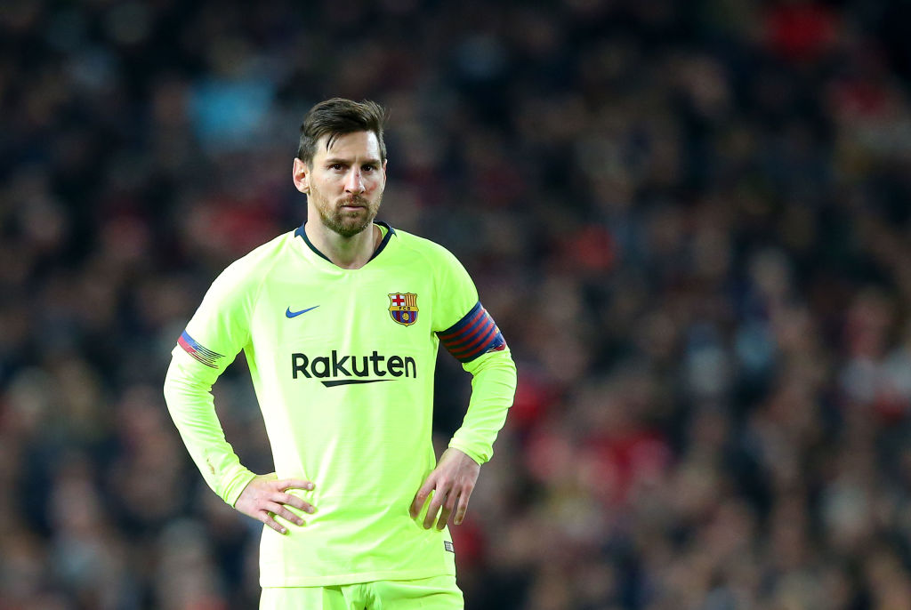 Messi was injured in a challenge with Chris Smalling