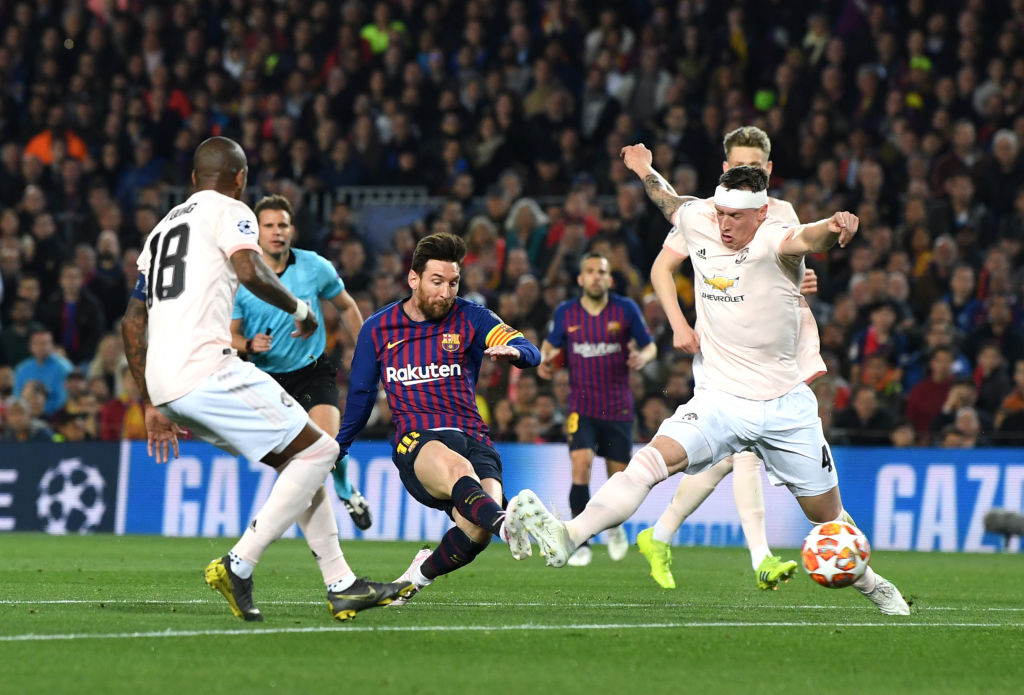 Lionel Messi ran riot against Manchester United in the first half