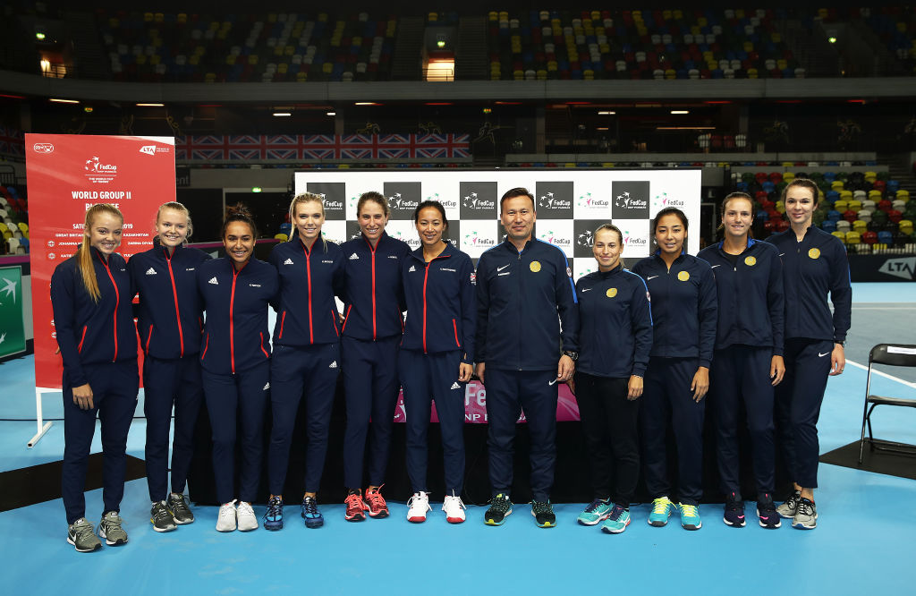 The Fed Cup teams were on site in East London