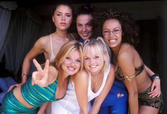 Victoria Beckham, Geri Halliwell, Melanie Brown, Emma Bunton, and Melanie Chisholm of the Spice Girls (Photo by John Stanton/WireImage)