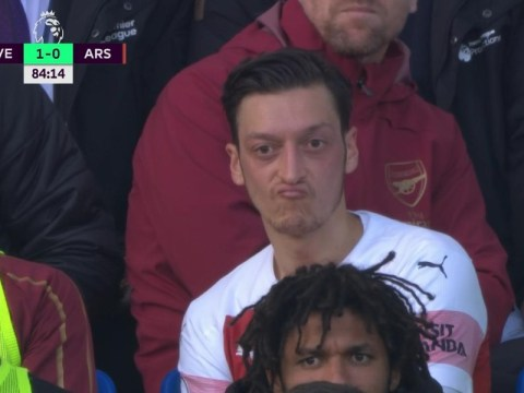 Mesut Ozil throws his jacket at Everton bench as Unai Emery clashes with Marco Silva during Arsenal defeat
