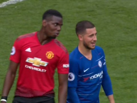 Off to Real Madrid? Paul Pogba chats to Eden Hazard after Manchester United draw with Chelsea