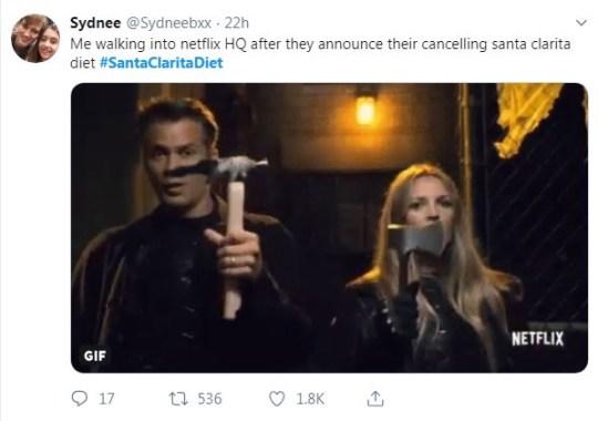 Tweet about Santa Clarita Diet cancellation