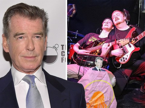 Pierce Brosnan pays tribute to Her's after learning tragic band kept his cut-out on stage