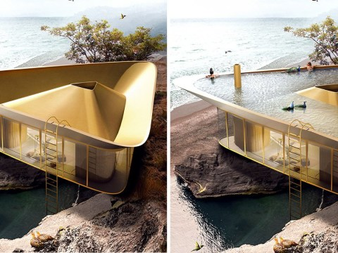We want this house with a triangle swimming pool on its roof