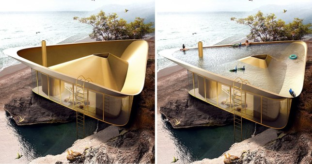 We want this house with a triangle swimming pool on its roof ...