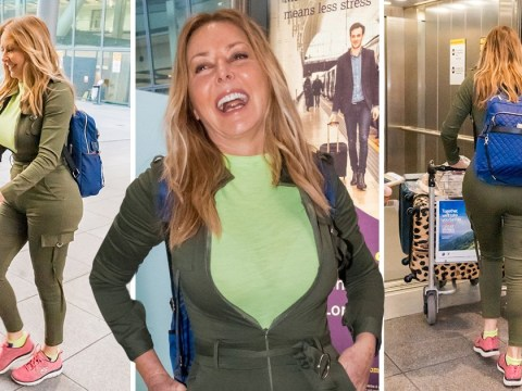 Carol Vorderman has never looked happier after reuniting with old pal Lewis Hamilton in Bahrain