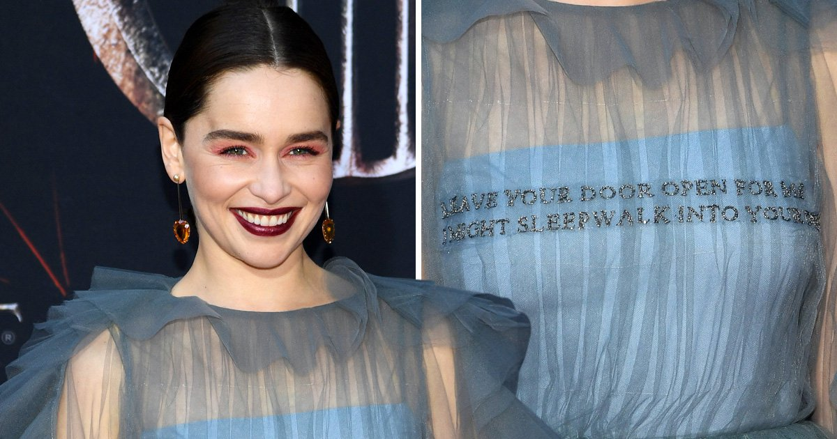 Emilia Clarke wears her words on her chest at Game Of Thrones premiere