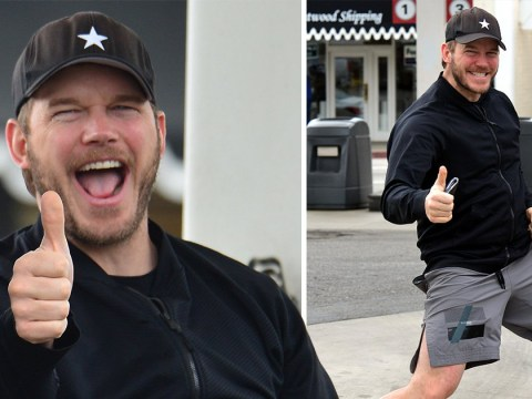 Chris Pratt can't resist a thumbs up as he takes break from saving the world to run errands