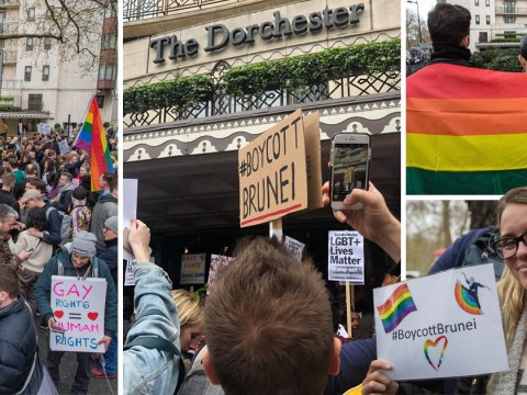 Dorchester hotel draped in rainbow flag as hundreds protest over Brunei gay stoning law