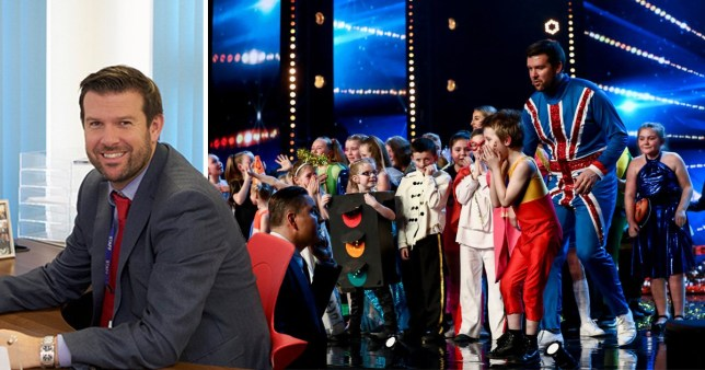 dave mcpartlin with the flakefleet school performers on Britain's Got Talent