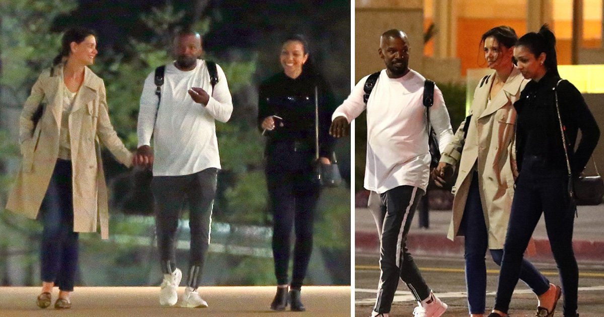Katie Holmes and Jamie Foxx hold hands on fun night out with his daughter Corinne