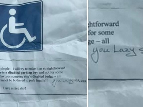 Disabled woman finds abusive note left on her car for parking in disabled bay