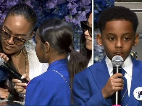 Lauren London's son Cameron bravely delivers emotional speech at Nipsey Hussle's memorial service