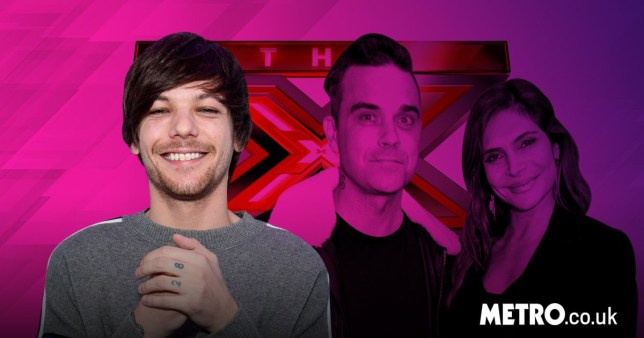 Robbie Williams and Ayda Field next to X Factor logo with Louis Tomlinson