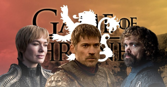 Cersei Lannister, Jaime Lannister and Tyrion Lannister in front of the Lannister sigil in Game of Thrones