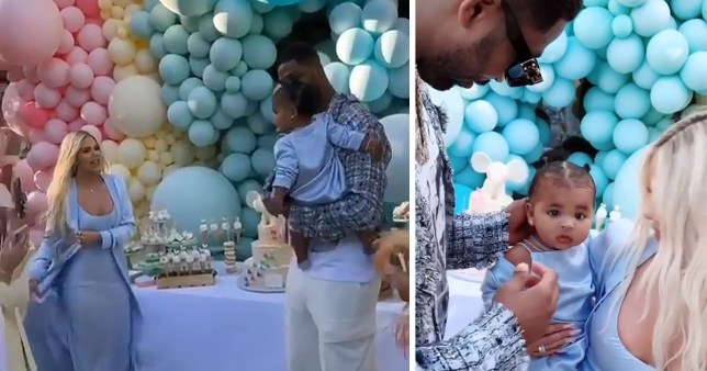 Khloe Kardashian and Tristan Thompson at True birthday party
