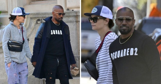 *EXCLUSIVE* Jamie Foxx and Katie Holmes enjoy a morning stroll