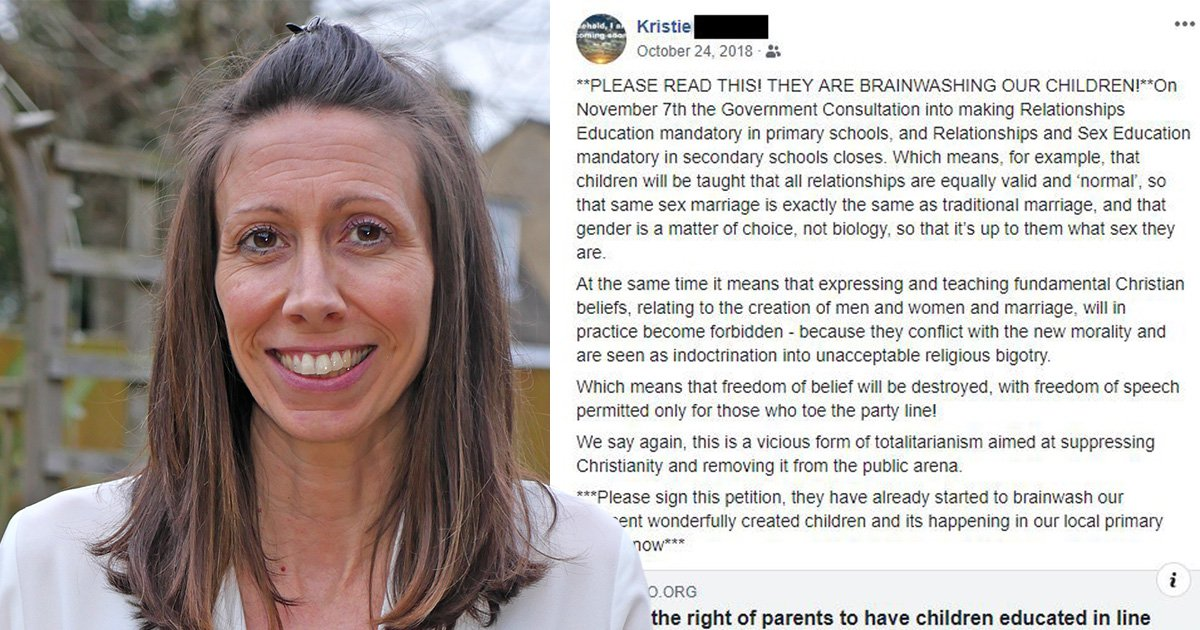 School assistant sacked after criticising LGBT teaching at son's primary