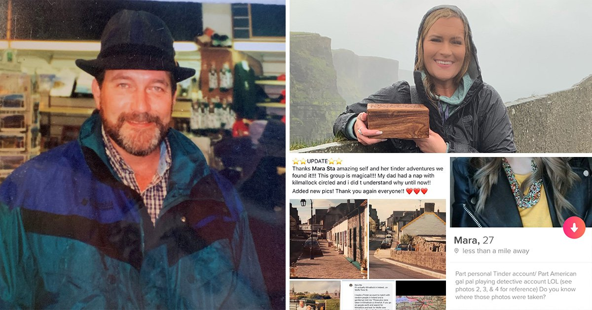 Woman uses Tinder and Facebook to find the town her dad loved and spread his ashes there