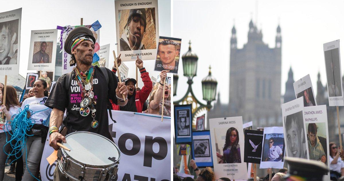 Dozens of anti-knife protesters block Westminster Bridge