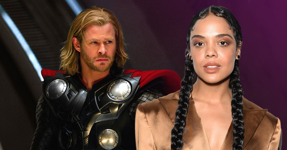 Tessa Thompson with Chris Hemsworth in character as Thor