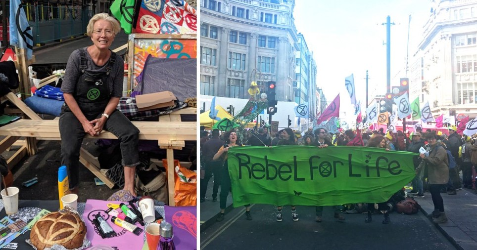 Emma Thompson at Extinction Rebellion in Marble Arch