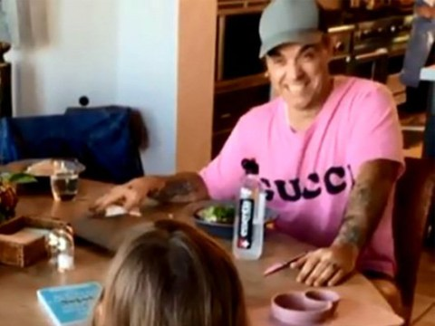 Robbie Williams' daughter Teddy sings Angels to him – and adorably gets it wrong