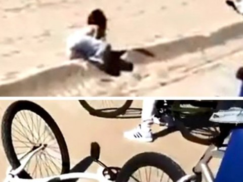 Kourtney Kardashian celebrates 40th birthday by falling off her bike on Venice Beach