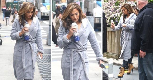 Jennifer Lopez wearing a robe on the set of Hustlers in New York