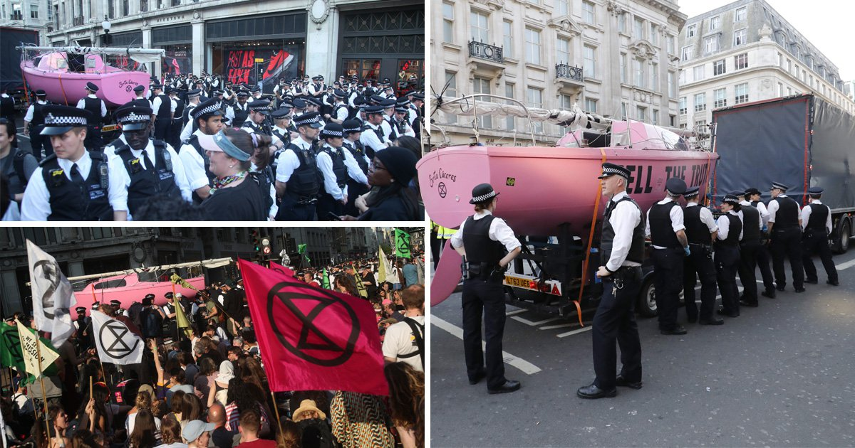 Protesters warn 'we have more boats' as police tow pink climate change boat
