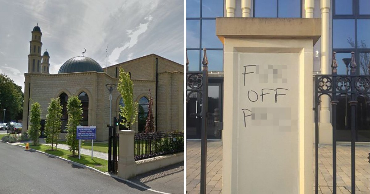 Mosque falls victim to hate crime after vandals daub it with racist graffiti