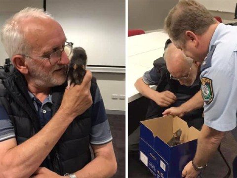 Heartwarming moment a homeless man is reunited with his lost pet rat Lucy